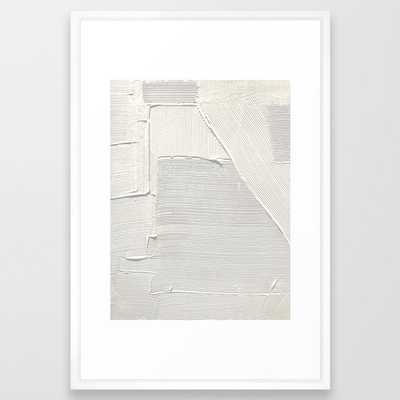 Relief [2]: An Abstract, Textured Piece In White By Alyssa Hamilton Art Framed Art Print by Alyssa Hamilton Art - Vector White - LARGE (Gallery)-26x38 - Society6