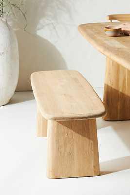 Kalle Sculptural Oak Dining Bench By Anthropologie in Beige - Anthropologie