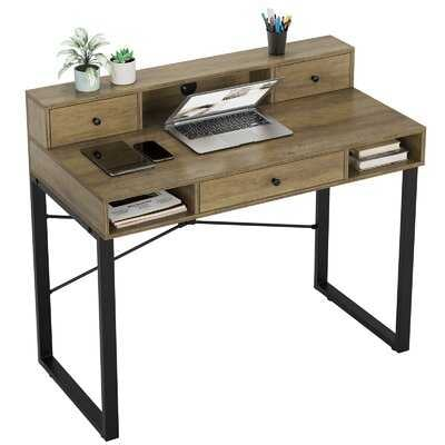 """Writing Computer Desk, 42"""" Rustic Computer Desk With Drawers And Hutch, Modern Simple Style Study Table Computer Workstation, Makeup Vanity Console Table, Easy Assembly - Wayfair"""