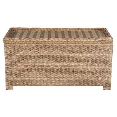 Hampton Bay Laguna Point Natural Tan Wicker Outdoor Patio Storage Coffee Table - Home Depot