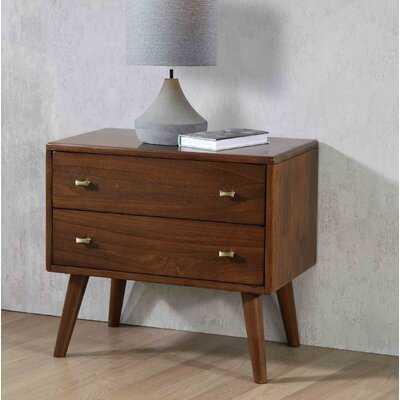 Leni 2 - Drawer Solid Wood Nightstand in Burnt Sugar - Wayfair