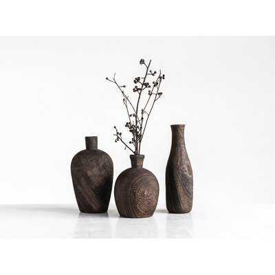 Haygarden Paulownia Wood 3 Piece Table Vase Set - Wayfair