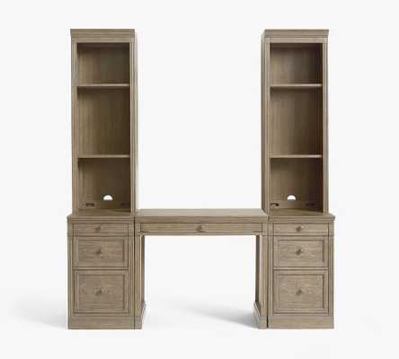 Livingston Desk with Bookcase Towers, Gray Wash - Pottery Barn