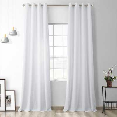 Exclusive Fabrics & Furnishings Pillow White Heritage Plush Velvet Grommet Blackout Curtain - 50 in. W x 84 in. L (1 Panel) - Home Depot