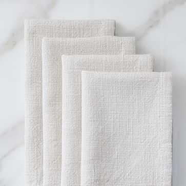 Textured Cotton Napkins, Set of 4, Belgian Flax - West Elm