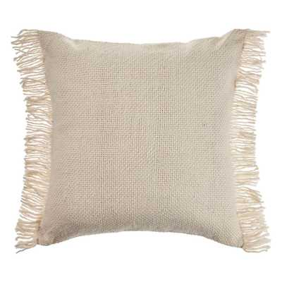 LR Home Vintage Ivory Woven Fringed Solid Soft Poly-fill 20 in. x 20 in. Throw Pillow - Home Depot