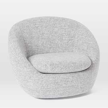 Cozy Swivel Chair, Chunky Melange, Frost Gray - West Elm