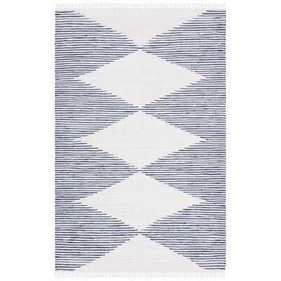 Janke Geometric Handmade Flatweave Cotton Dark Navy/Ivory Area Rug - Wayfair