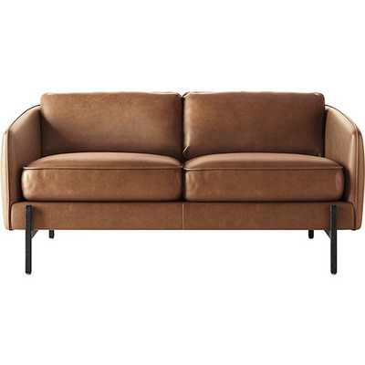 Hoxton Saddle Leather Loveseat with Black Legs - CB2