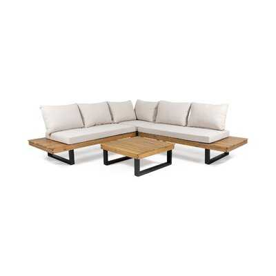 4 Piece Teak Sectional Seating Group with Cushions - Wayfair
