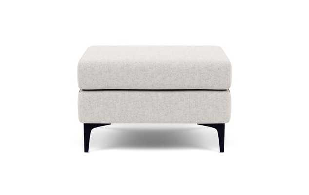 Asher Ottoman with Beige Pebble Fabric and Matte Black legs - Interior Define