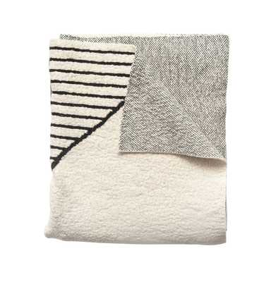 Black & Cream Cotton Knit Throw - Moss & Wilder