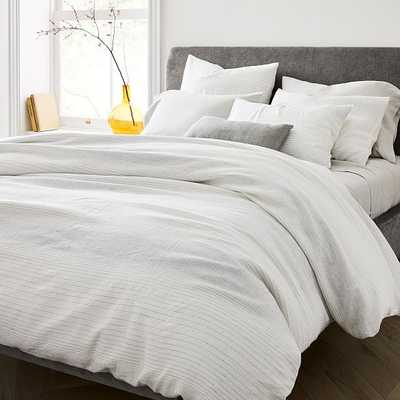 Belgian Flax Linen Graduated Stripe Duvet & King Sham, White & Asphalt, King - West Elm
