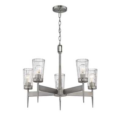 Filament Design 5-Light Antique Nickel Chandelier with Glass Shades - Home Depot