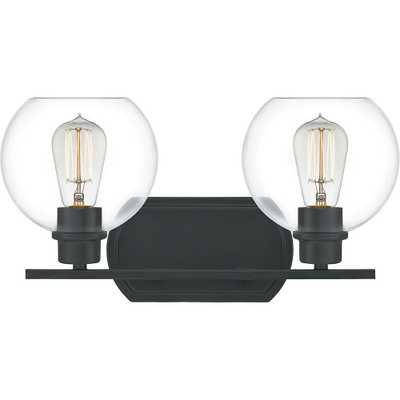 Quoizel Pruitt 2-Light Matte Black Vanity Light - Home Depot