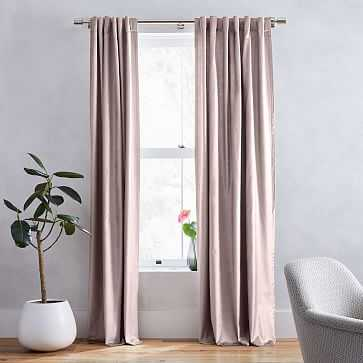 "Luster Velvet Curtain + Blackout Panel, Set of 2, Dusty Blush 48""x96"" - West Elm"