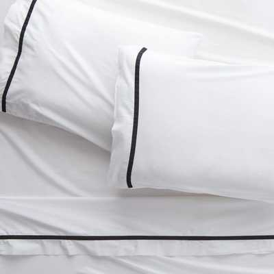 Crimp Cotton Sateen 300 Thread Count Black King Sheet Set - CB2