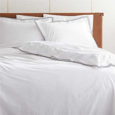 Overlock Black King Duvet Cover - CB2