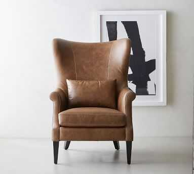 Champlain Wingback Leather Armchair, Polyester Wrapped Cushions, Statesville Toffee - Pottery Barn