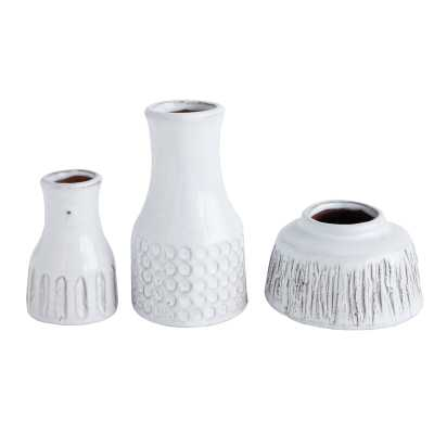 Bloomingville Distressed White Terracotta Vases (Set of 3 Styles) - Perigold