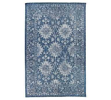 "Adara Indoor/Outdoor Rug, Blue, 7'10"" x 9'10"" - Pottery Barn"
