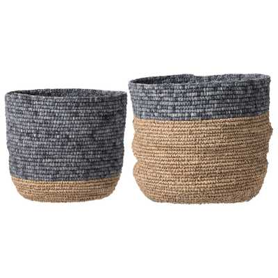 Set of 2 Beige & Grey Natural Seagrass Baskets - Moss & Wilder