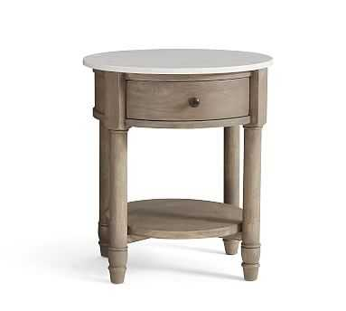 Alexandra Marble Round Nightstand, Gray Wash - Pottery Barn