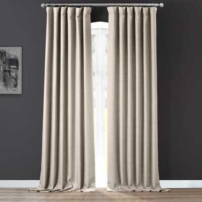 Exclusive Fabrics & Furnishings Taupe Grey Gray Italian Faux Linen Room Darkening Curtain - 50 in. W x 84 in. L (1 Panel) - Home Depot
