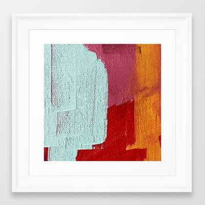 Desert Daydreams [2]: A Vibrant, Colorful Abstract Acrylic Piece In Pink, Red, Orange, And Blue Framed Art Print by Alyssa Hamilton Art - Scoop White - X-Small-12x12 - Society6