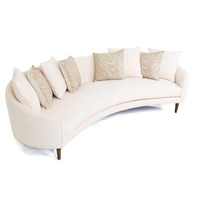 "Art Deco Curved 105"" Round Arm Sofa Fabric: Cream - Perigold"