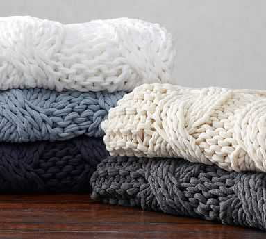 """Colossal Handknit Throw, 44 x 56"""", Charcoal - Pottery Barn"""