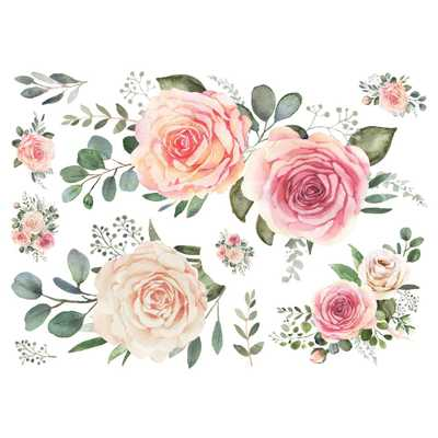 RoomMates Pink Roses Peel And Stick Giant Wall Decals, Multi - Home Depot
