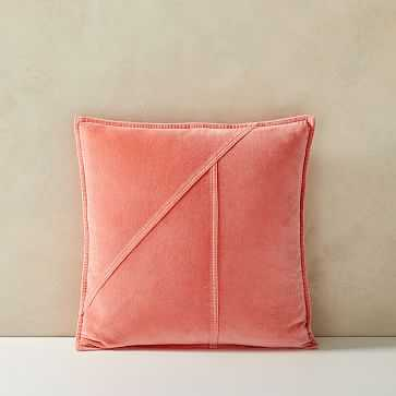 """Washed Cotton Velvet Pillow Cover, Set of 2, Coral Dream, 18""""x18"""" - West Elm"""