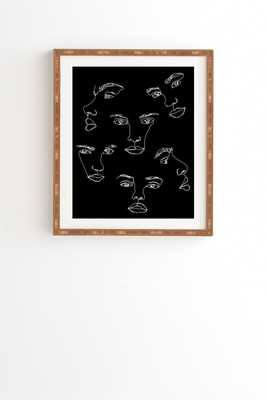"Faces Single Line Drawing Cyra by The Colour Study - Framed Wall Art Bamboo 19"" x 22.4"" - Wander Print Co."