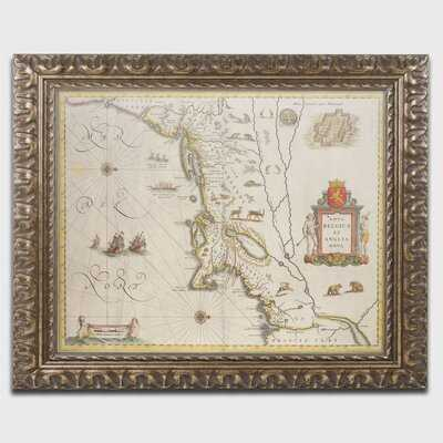 'Map of New Belgium and New England' Framed Graphic Art on Canvas - Wayfair