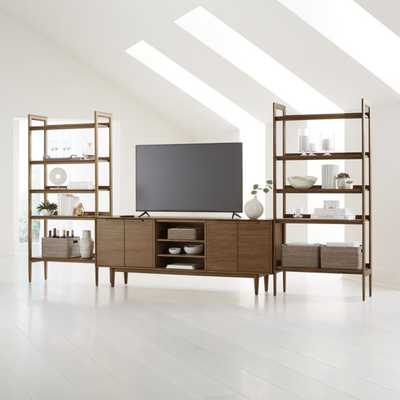"""Tate Walnut 80"""" Media Console with 2 Wide Bookcases - Crate and Barrel"""