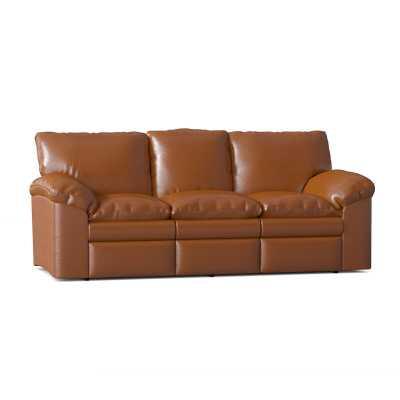 "Omnia Leather El Dorado Reclining 92"" Pillow Top Arm Sofa Body Fabric: Guanaco Aztec, Reclining Type: Manual, Mattress Type: No Mattress, Add Center Seat Recliner: Yes - Perigold"