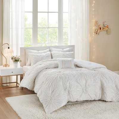 Intelligent Design Essie 4-Piece White Full/Queen Metallic Printed Ruched Comforter Set - Home Depot