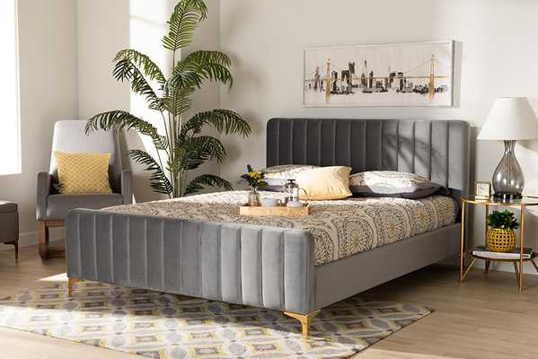 Baxton Studio Nami Modern Contemporary Glam and Luxe Light Grey Velvet Fabric Upholstered and Gold Finished King Size Platform Bed - Lark Interiors