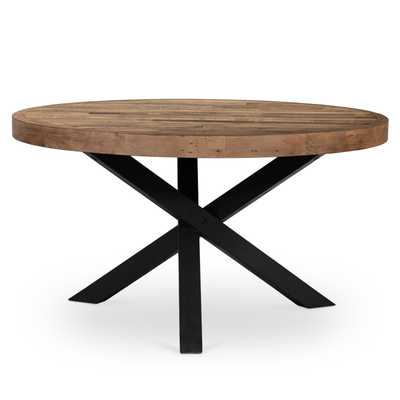 Henry Industrial Loft Brown Reclaimed Wood Iron Round Dining Table - Kathy Kuo Home
