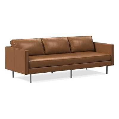 "Axel 89"" Sofa, Weston Leather, Cinnamon, Metal - West Elm"
