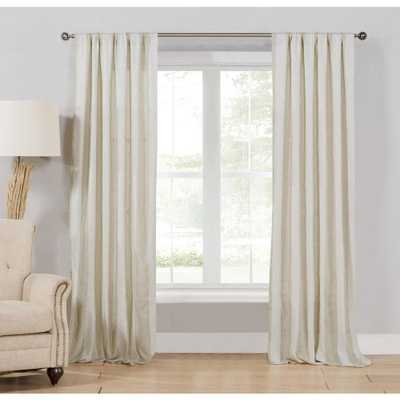 HOME MAISON Oakley Taupe-White Polyester Light Filtering Pole Top Curtain - 37 in. W x 96 in. L (2-Pack) - Home Depot