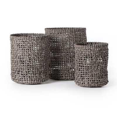 Constantine Baskets, Set of 3, Gray - West Elm