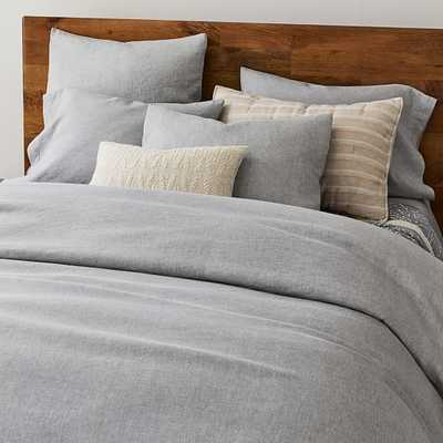 Hemp Cotton Solid Duvet, King Duvet & King Shams, Misty Gray - West Elm