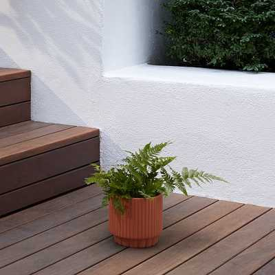 Fluted Planter, Terracotta, Extra Small - West Elm