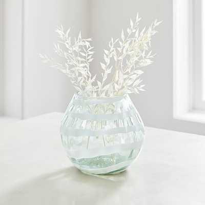 White Mexican Glass Vase, Short - West Elm