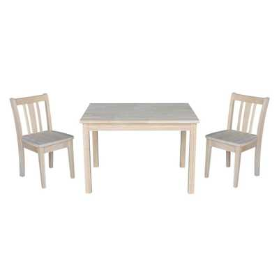 International Concepts Jorden Ready to Finish 3-Piece Kid's Table and Chair Set, Unfinished - Home Depot