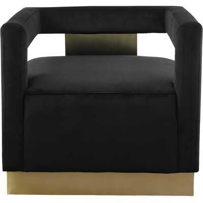 Tammie Black Velvet Barrel Chair - Wayfair