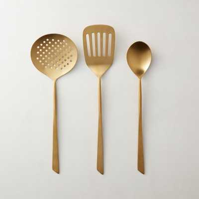 Brushed Gold Cooking Utensils Set of 3 - CB2