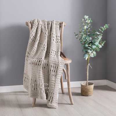COUNTRY LIVING Beige Crochet Cotton Throw Blanket - Home Depot